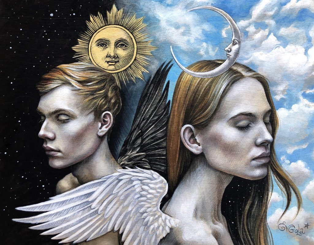 "Evgola ""There is no light without darkness"" (Gemini). Acrylic, colored pencils on 11""x14"" wood panel."