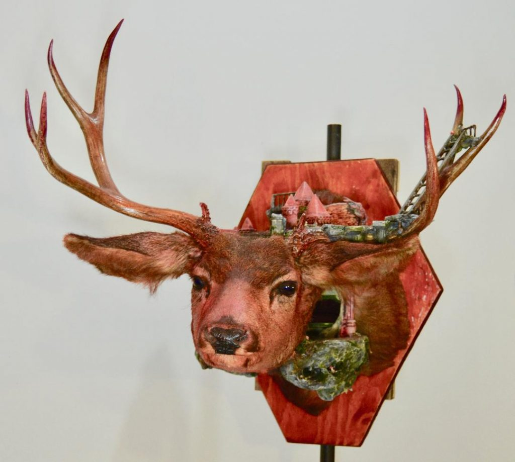 "Brooke Weston ""Vermillion Temple"" Taxidermy Deer/mixed media"