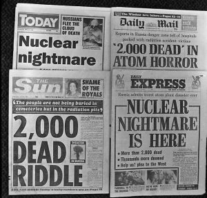 These are the front pages of four British morning newspapers reflecting the nuclear accident at the Chernobyl nuclear power plant in the Ukraine, Soviet Union. (AP Photo)